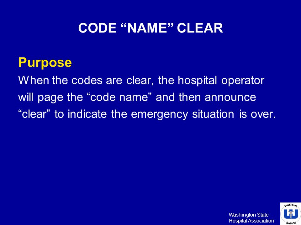 CODE NAME CLEAR Purpose