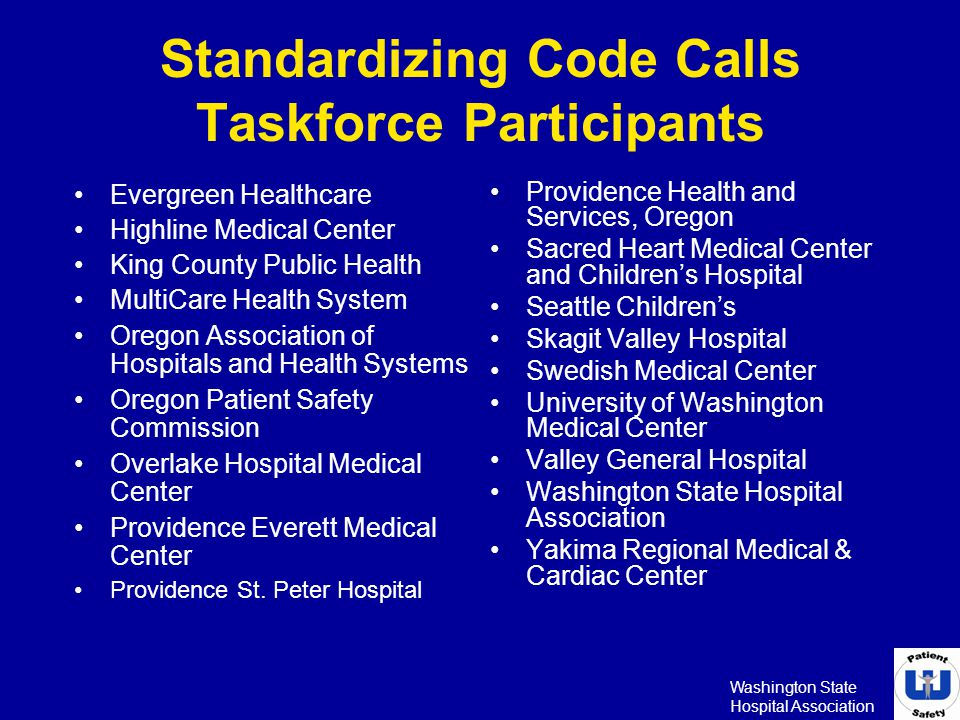 Standardizing Code Calls Taskforce Participants