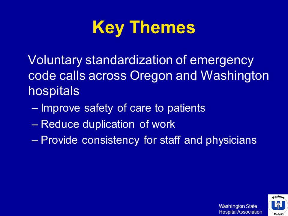 Key Themes Voluntary standardization of emergency code calls across Oregon and Washington hospitals.