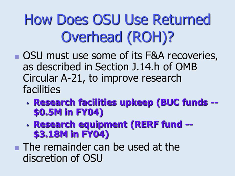 How Does OSU Use Returned Overhead (ROH)