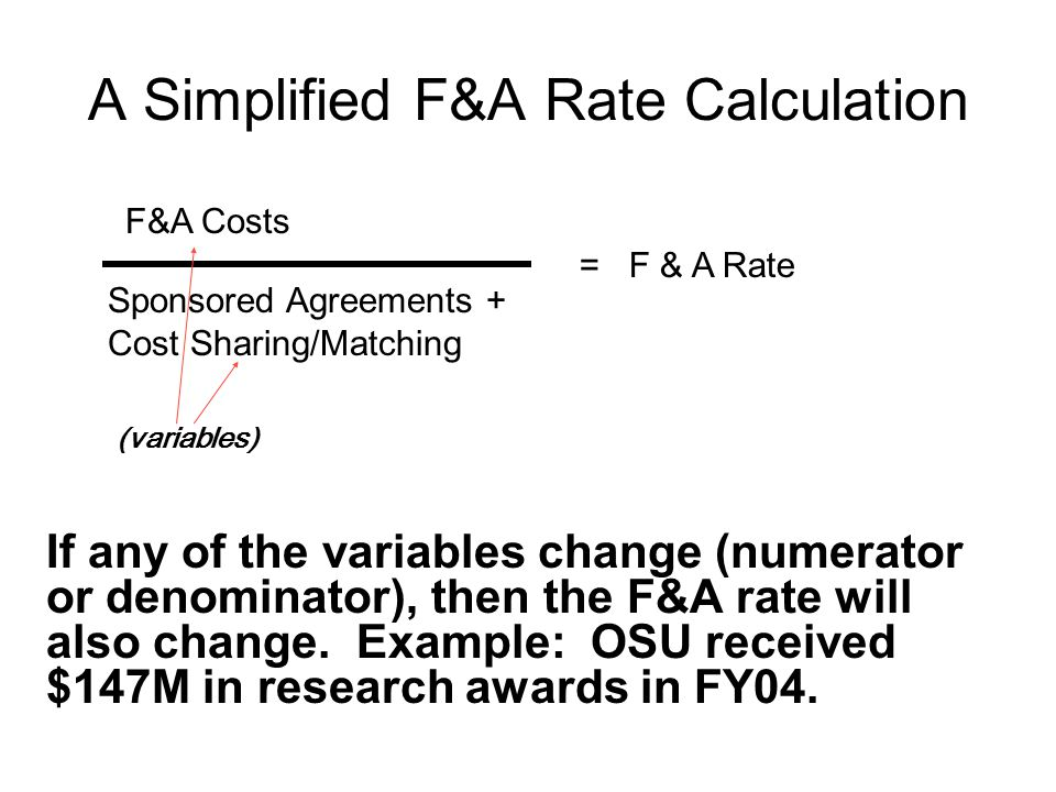 A Simplified F&A Rate Calculation