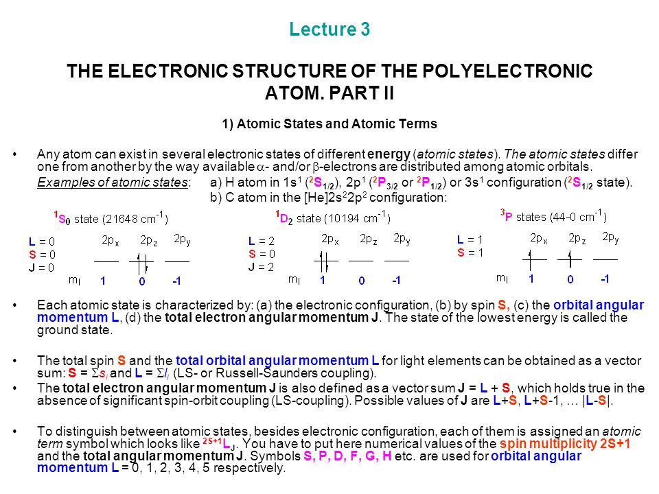 Lecture 3 THE ELECTRONIC STRUCTURE OF THE POLYELECTRONIC ATOM. PART II