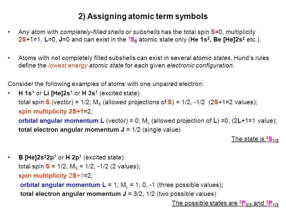 2) Assigning atomic term symbols