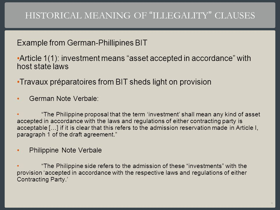 HISTORICAL MEANING OF ILLEGALITY CLAUSES