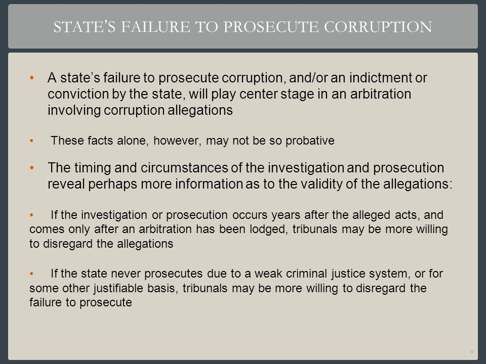 STATE'S FAILURE TO PROSECUTE CORRUPTION