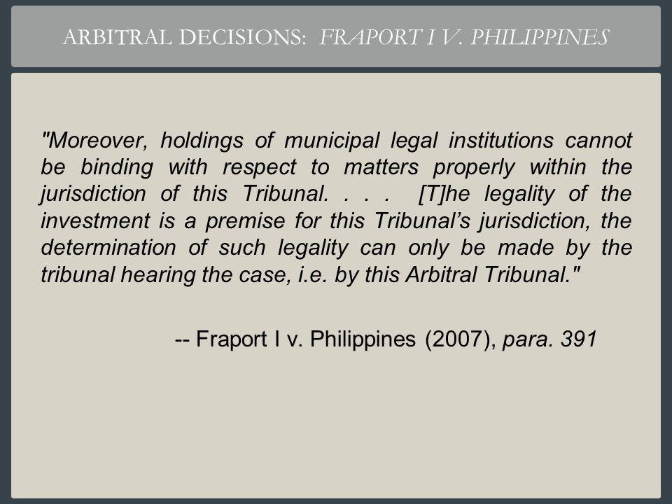ARBITRAL DECISIONS: FRAPORT I V. PHILIPPINES