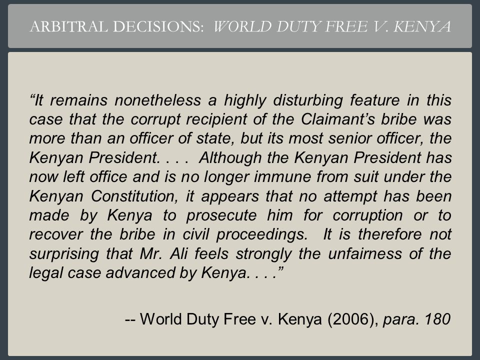 ARBITRAL DECISIONS: WORLD DUTY FREE V. KENYA