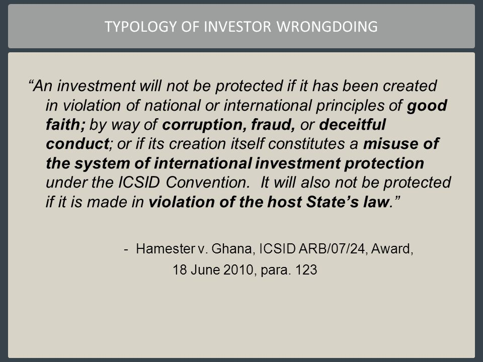 TYPOLOGY OF INVESTOR WRONGDOING
