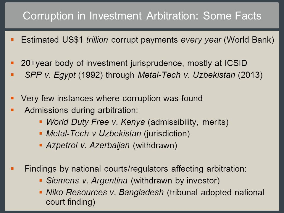 Corruption in Investment Arbitration: Some Facts