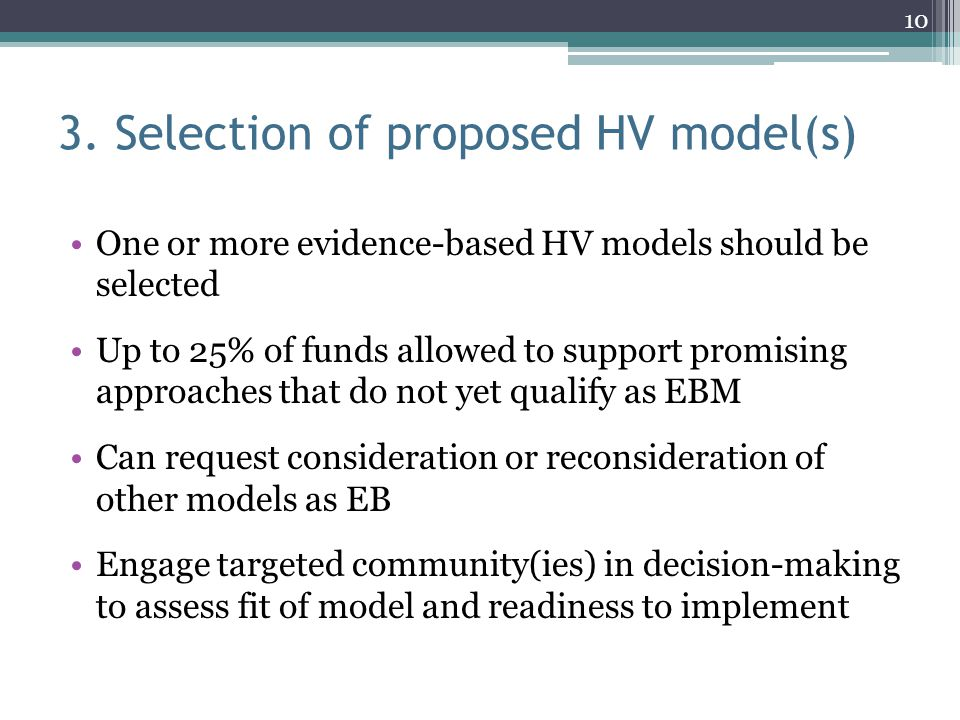 3. Selection of proposed HV model(s)