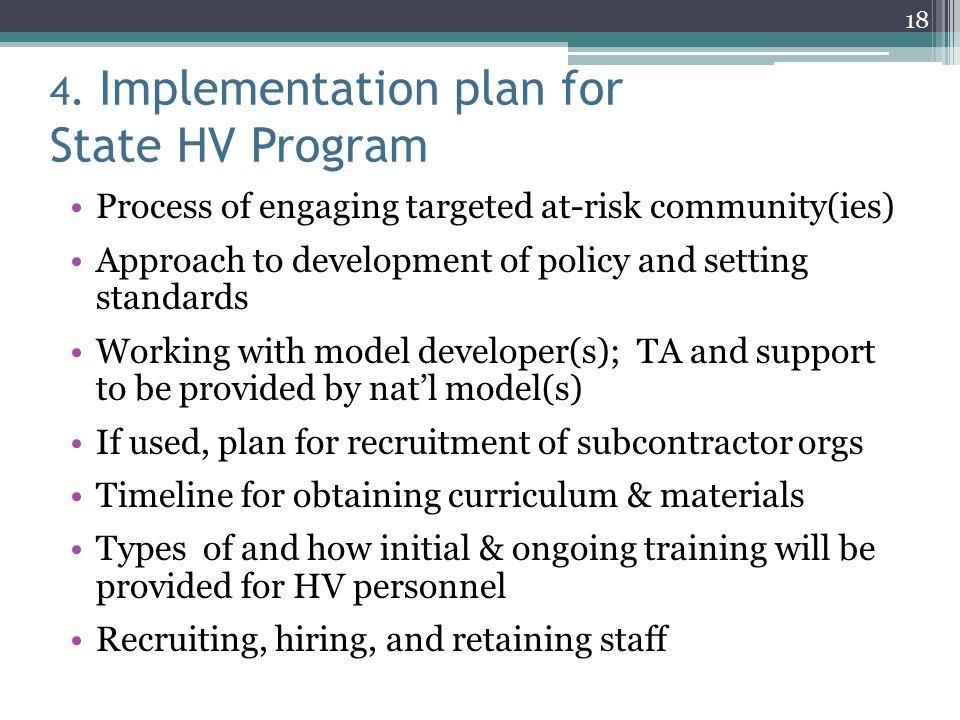 4. Implementation plan for State HV Program