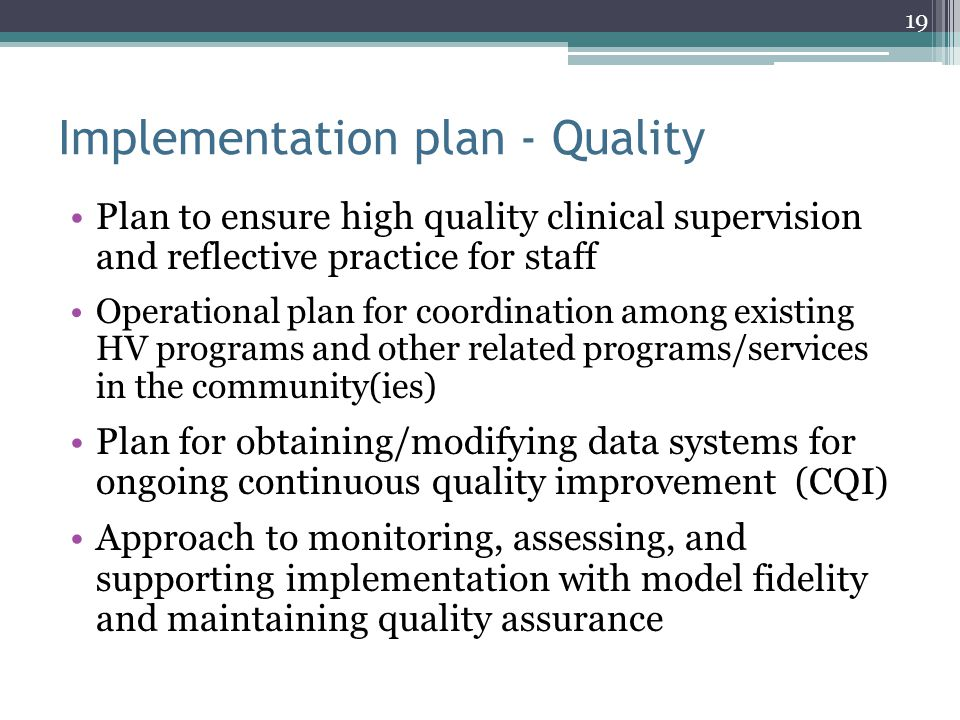 Implementation plan - Quality