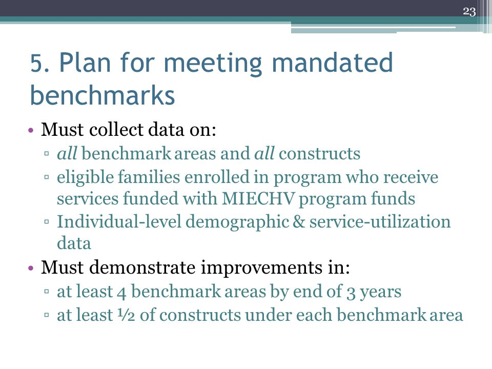 5. Plan for meeting mandated benchmarks