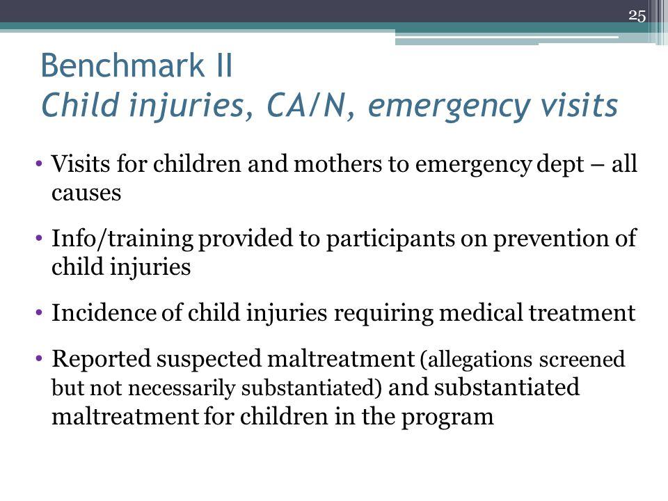 Benchmark II Child injuries, CA/N, emergency visits