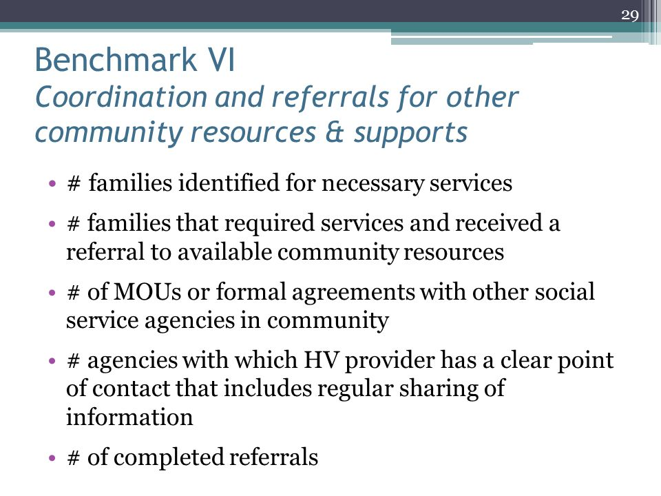 Benchmark VI Coordination and referrals for other community resources & supports