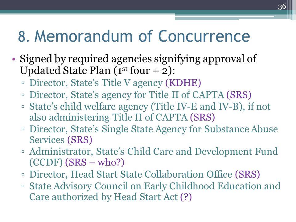 8. Memorandum of Concurrence
