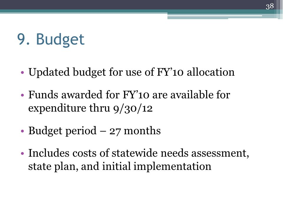 9. Budget Updated budget for use of FY'10 allocation
