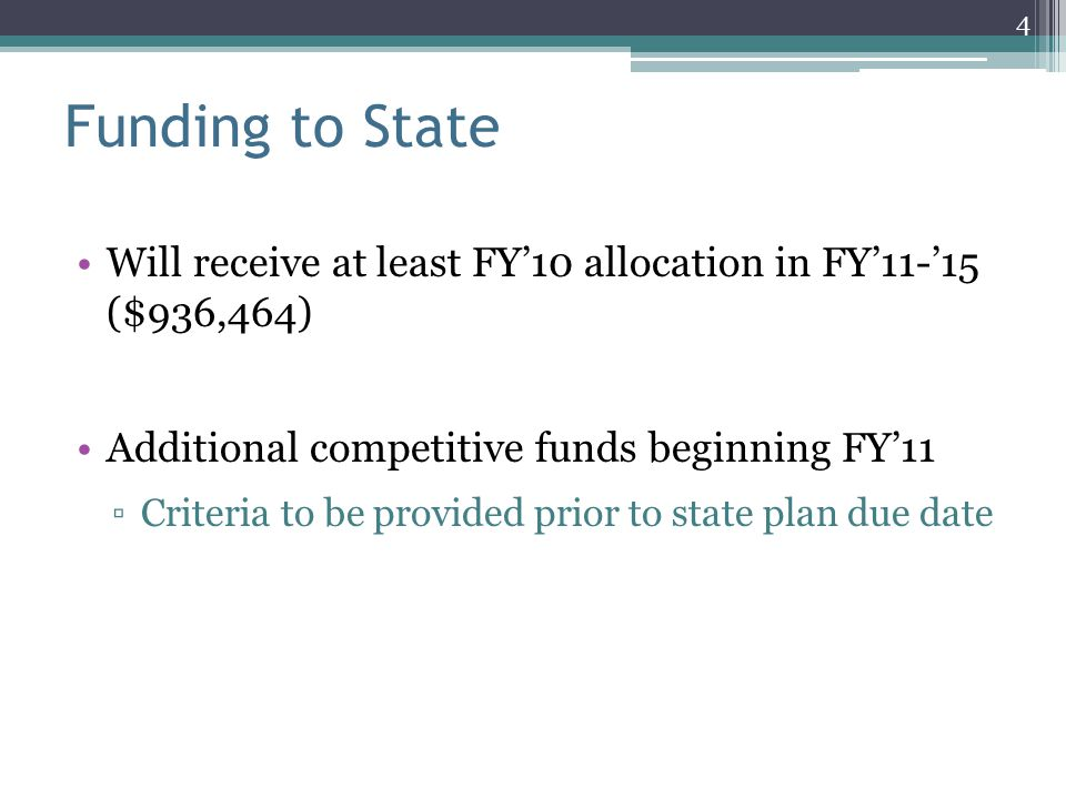 Funding to State Will receive at least FY'10 allocation in FY'11-'15 ($936,464) Additional competitive funds beginning FY'11.