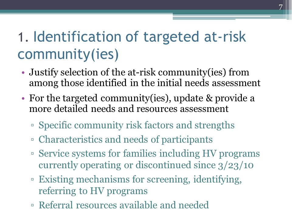 1. Identification of targeted at-risk community(ies)