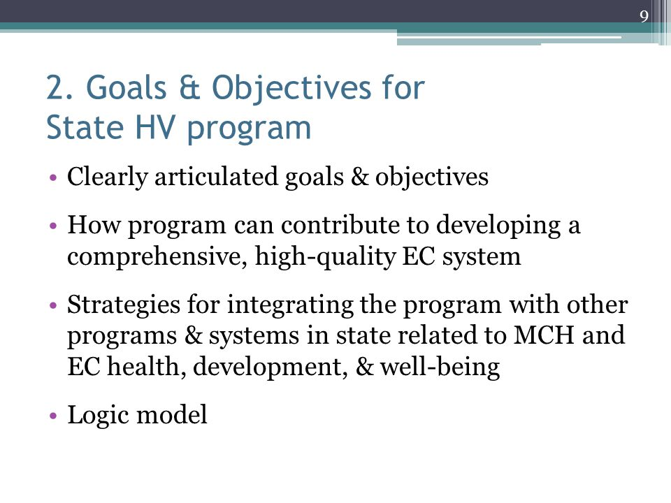 2. Goals & Objectives for State HV program