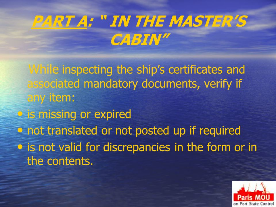 PART A: IN THE MASTER'S CABIN