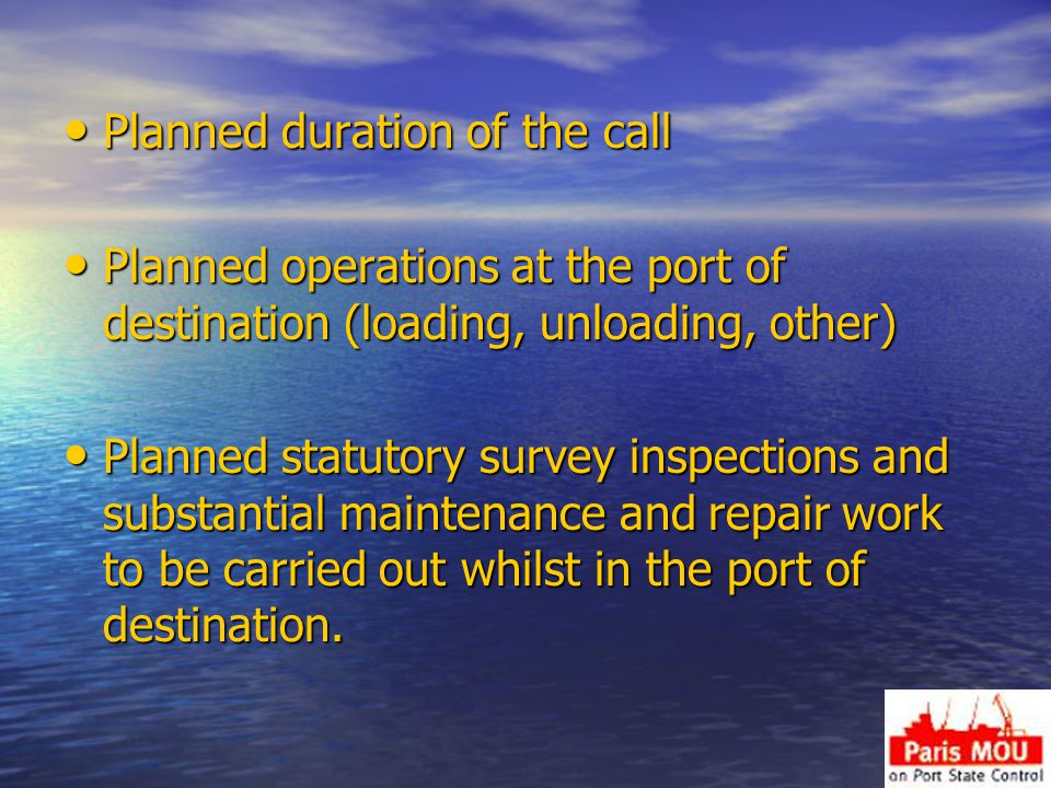 Planned duration of the call