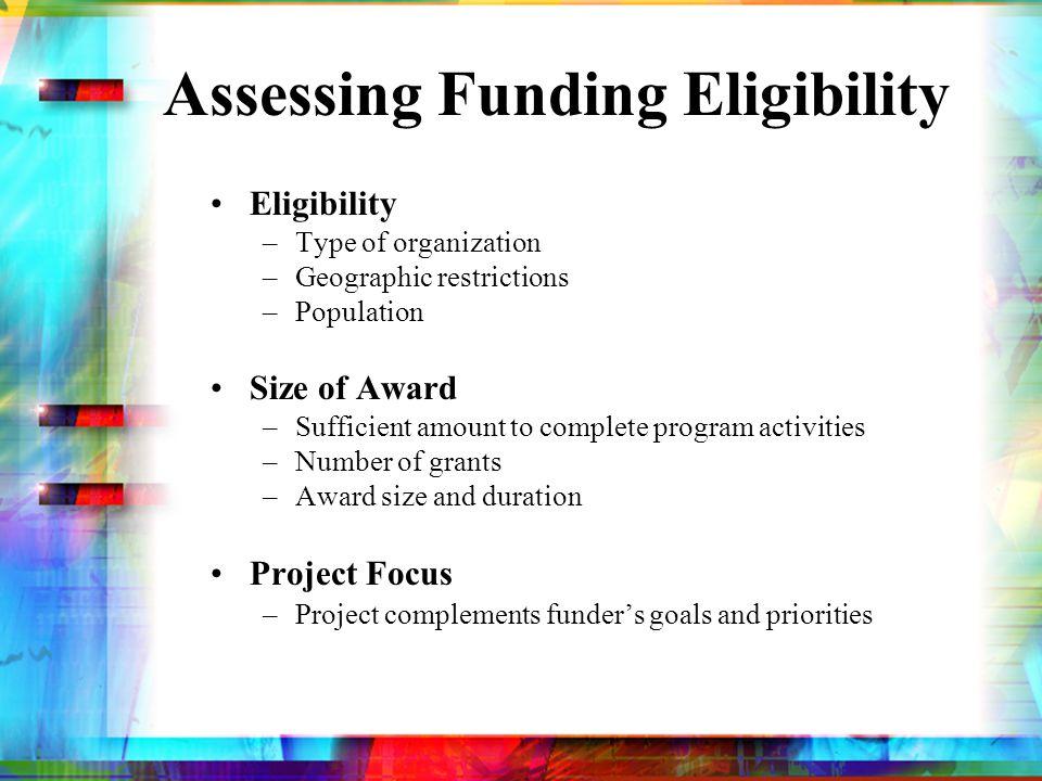 Assessing Funding Eligibility