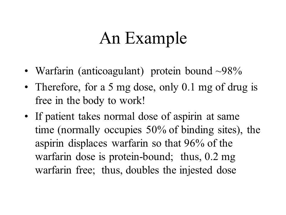 An Example Warfarin (anticoagulant) protein bound ~98%