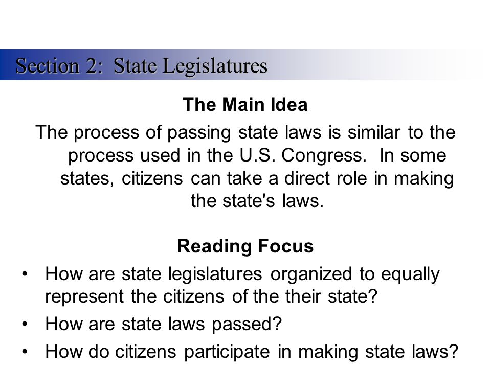 Section 2: State Legislatures