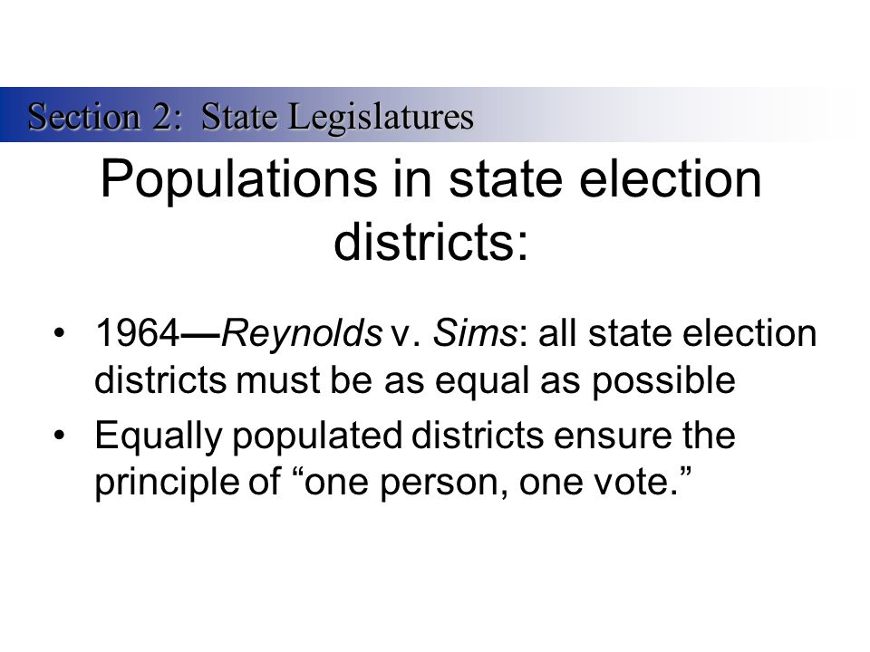 Populations in state election districts: