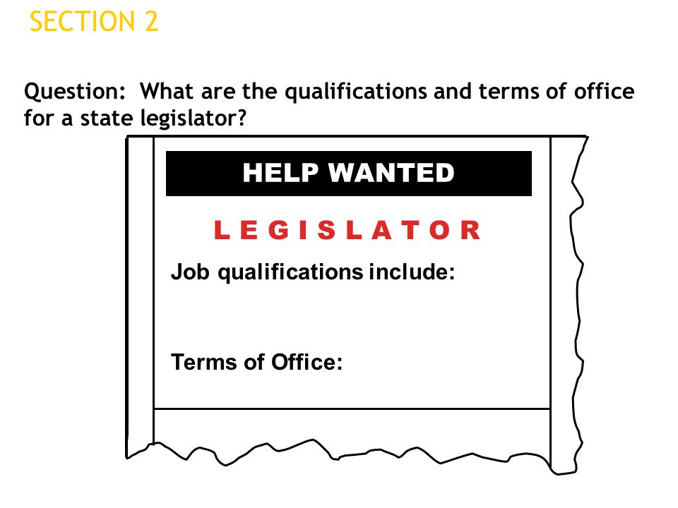 SECTION 2 HELP WANTED L E G I S L A T O R
