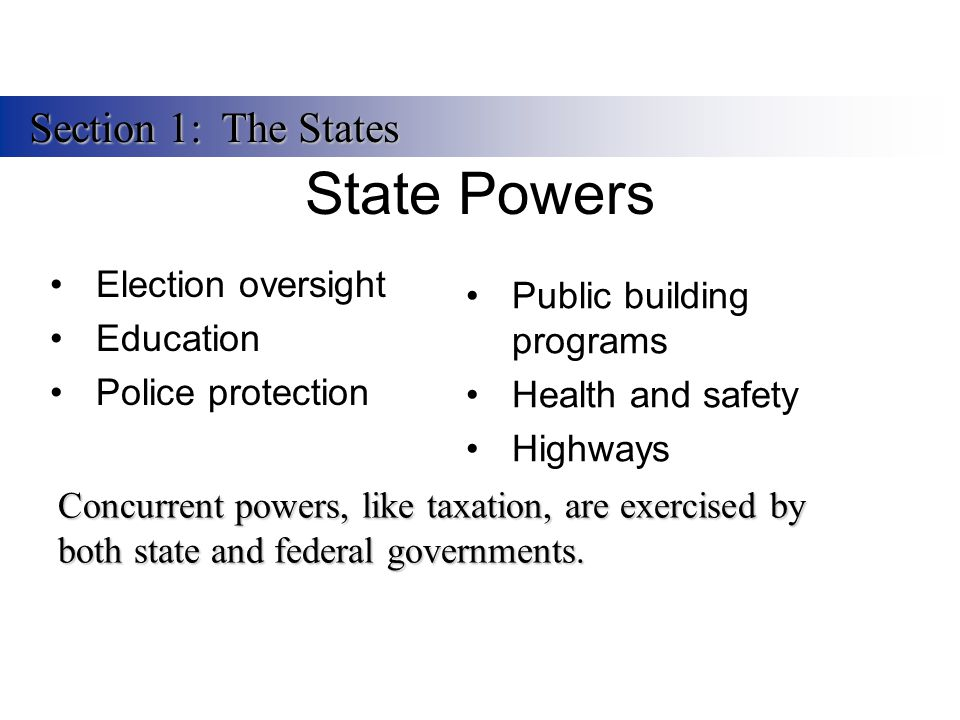 State Powers Section 1: The States Election oversight