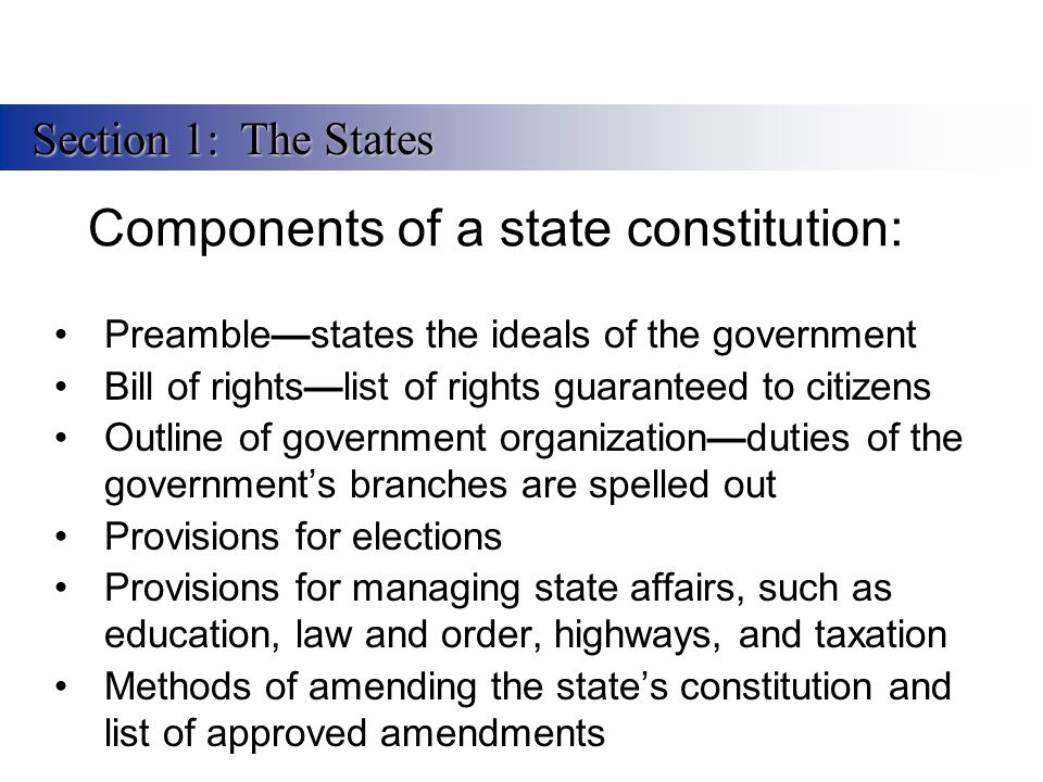 Components of a state constitution: