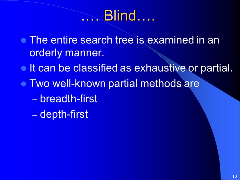 .… Blind…. The entire search tree is examined in an orderly manner.