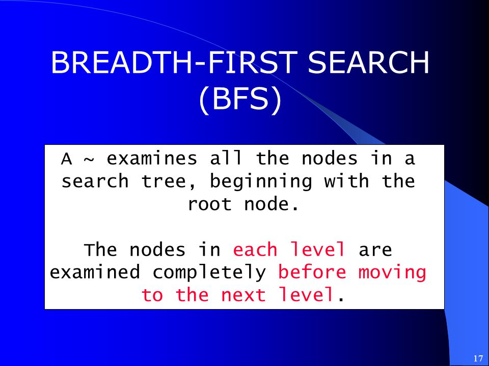 BREADTH-FIRST SEARCH (BFS) A ~ examines all the nodes in a