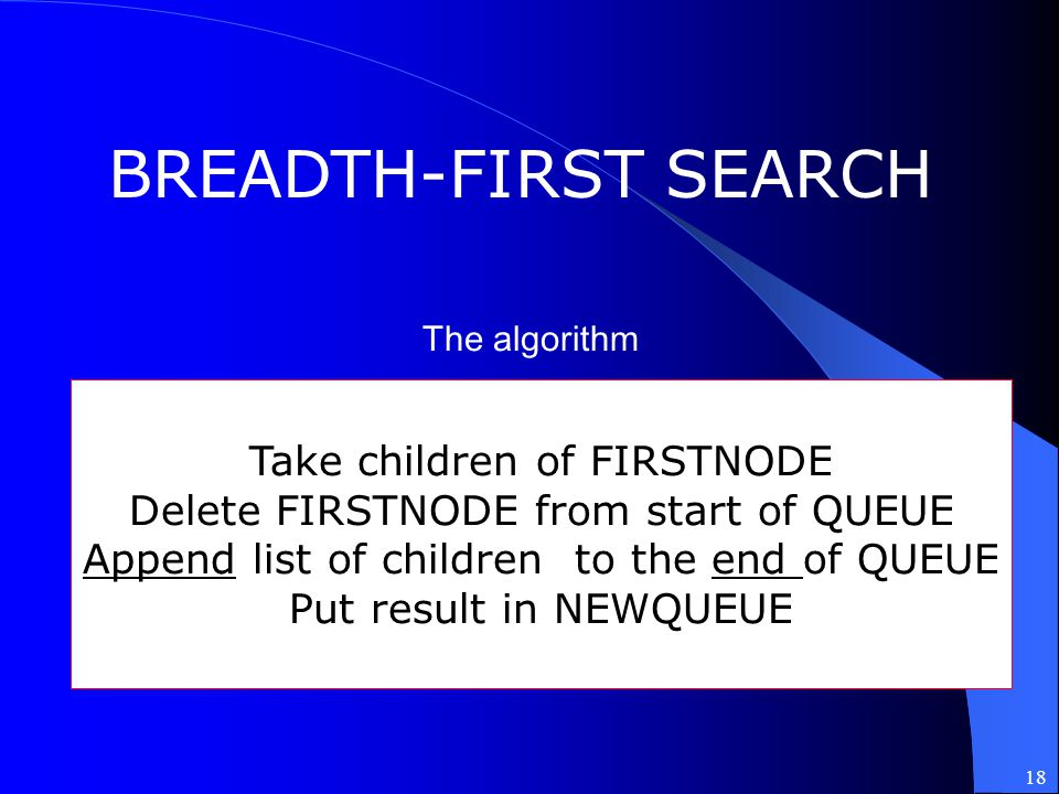 BREADTH-FIRST SEARCH Take children of FIRSTNODE