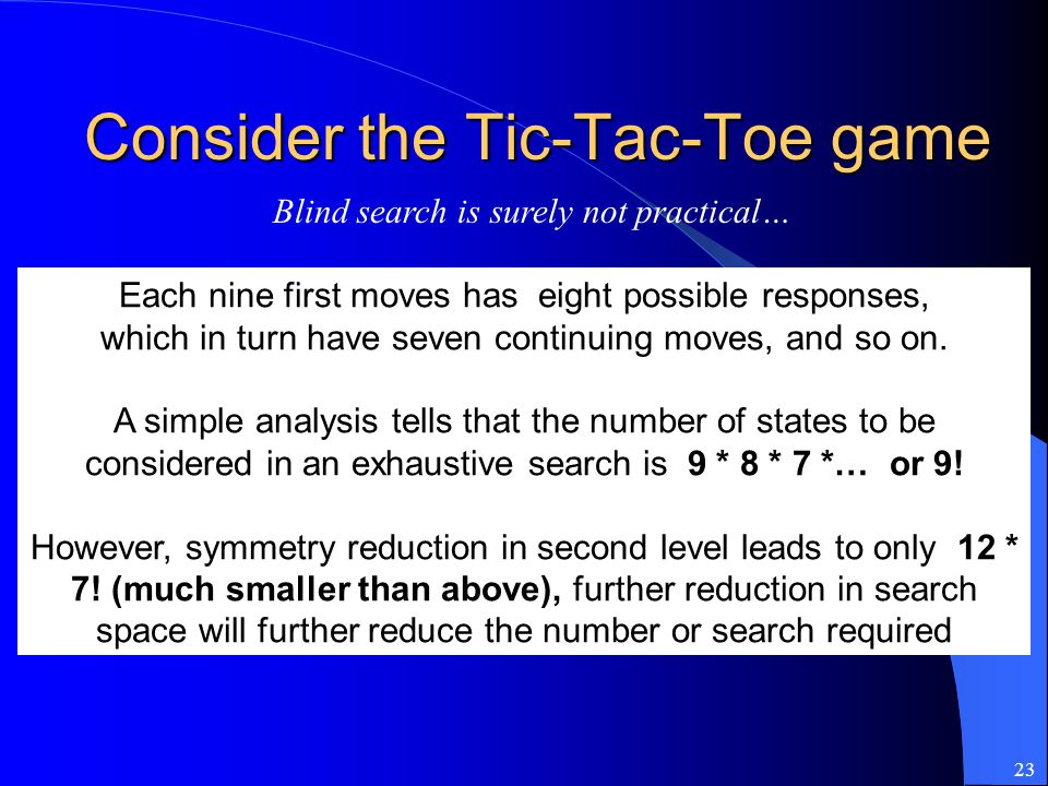 Consider the Tic-Tac-Toe game