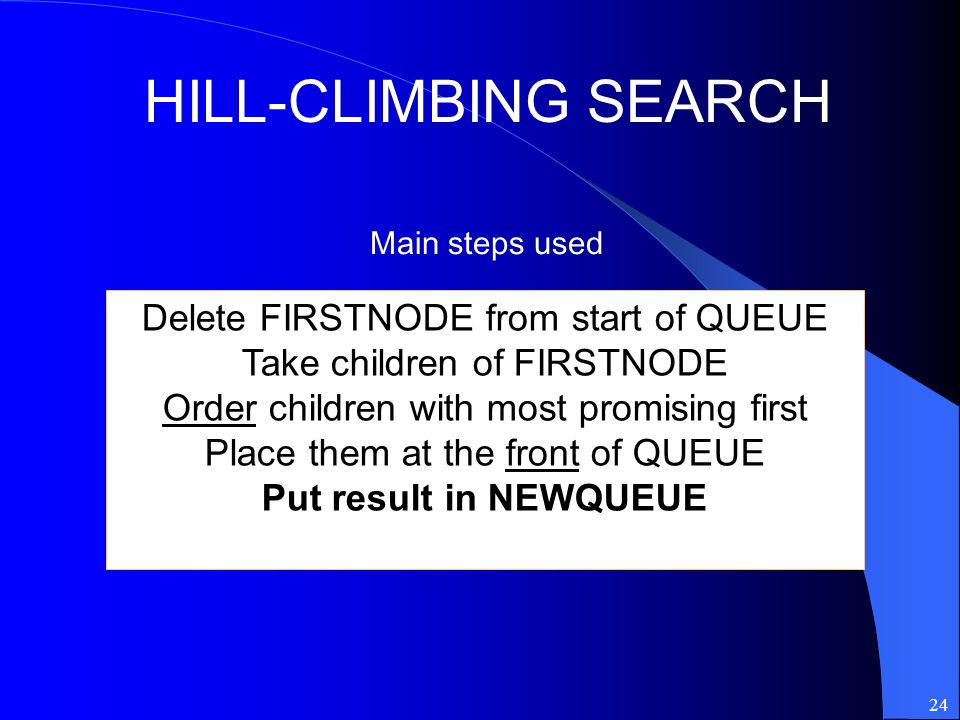 HILL-CLIMBING SEARCH Delete FIRSTNODE from start of QUEUE