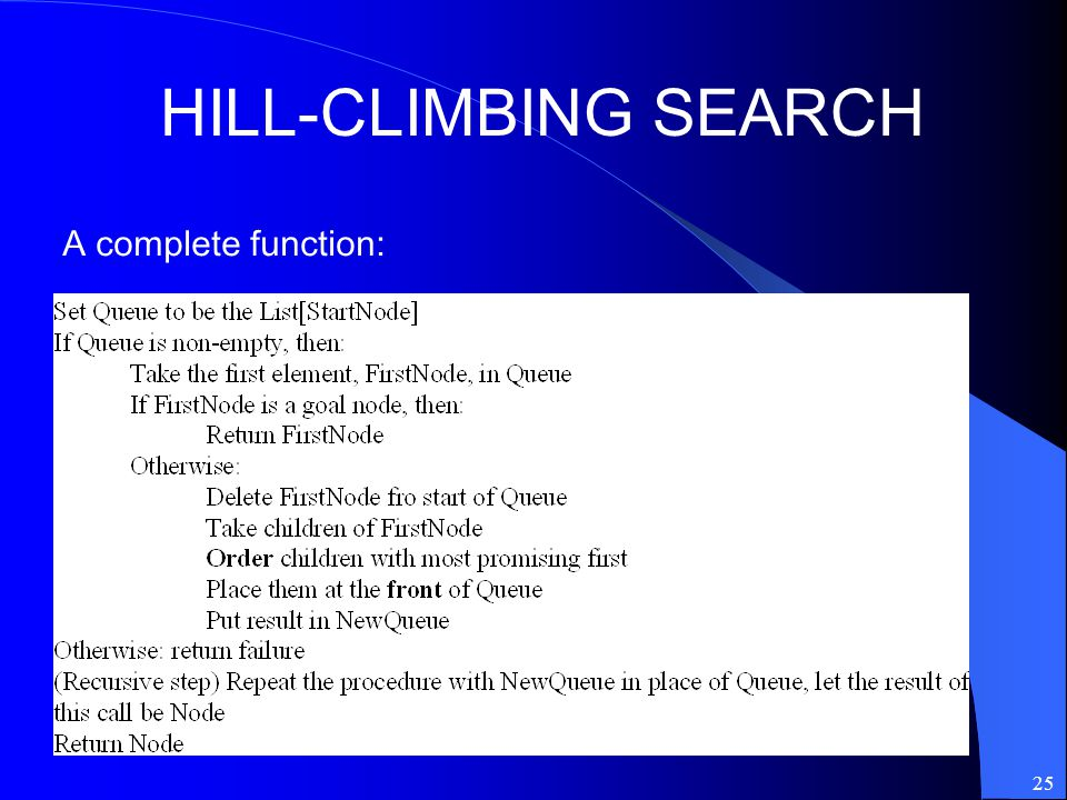 HILL-CLIMBING SEARCH A complete function: