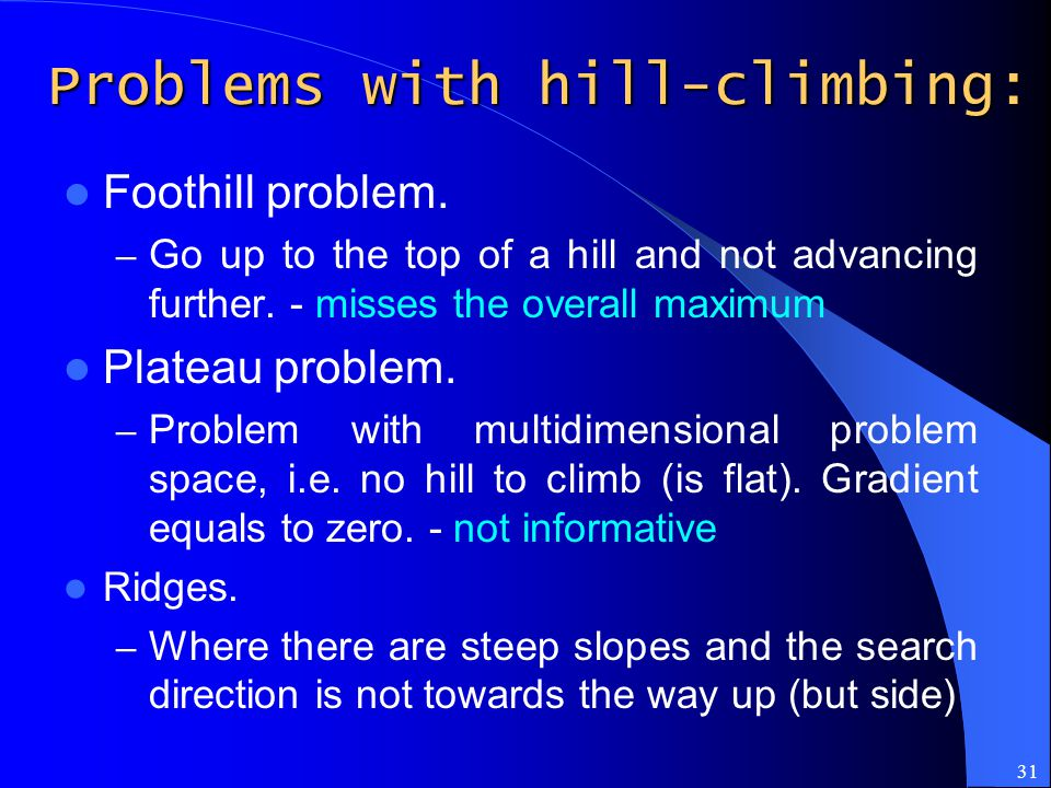 Problems with hill-climbing: