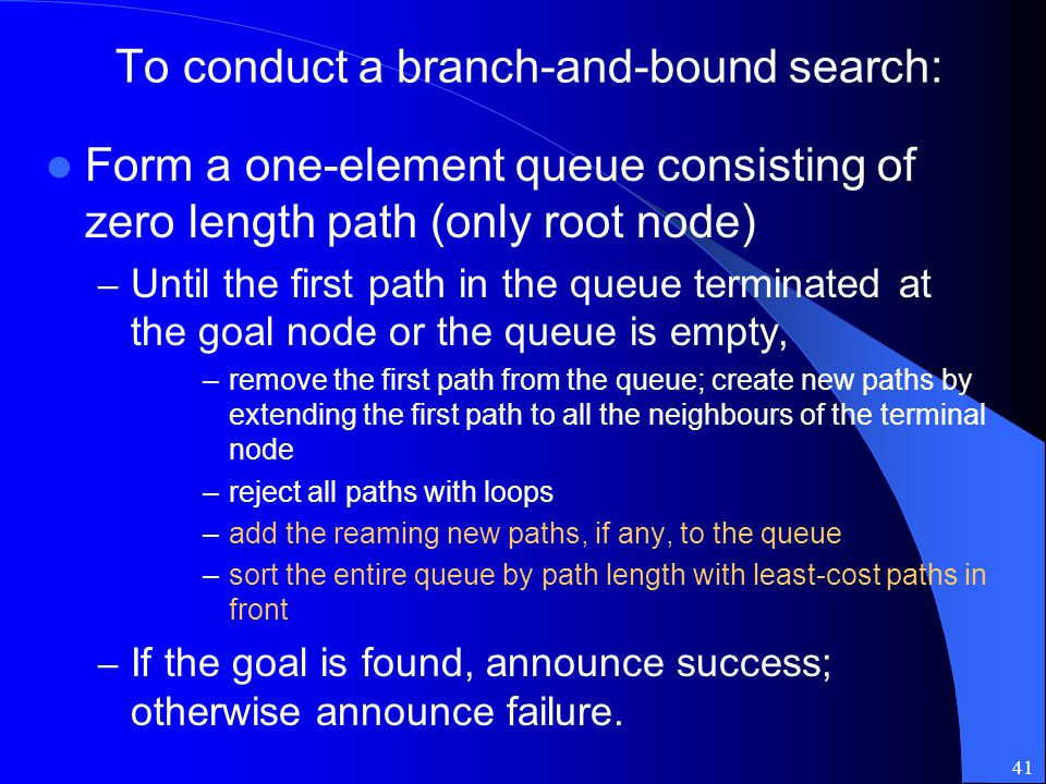 To conduct a branch-and-bound search: