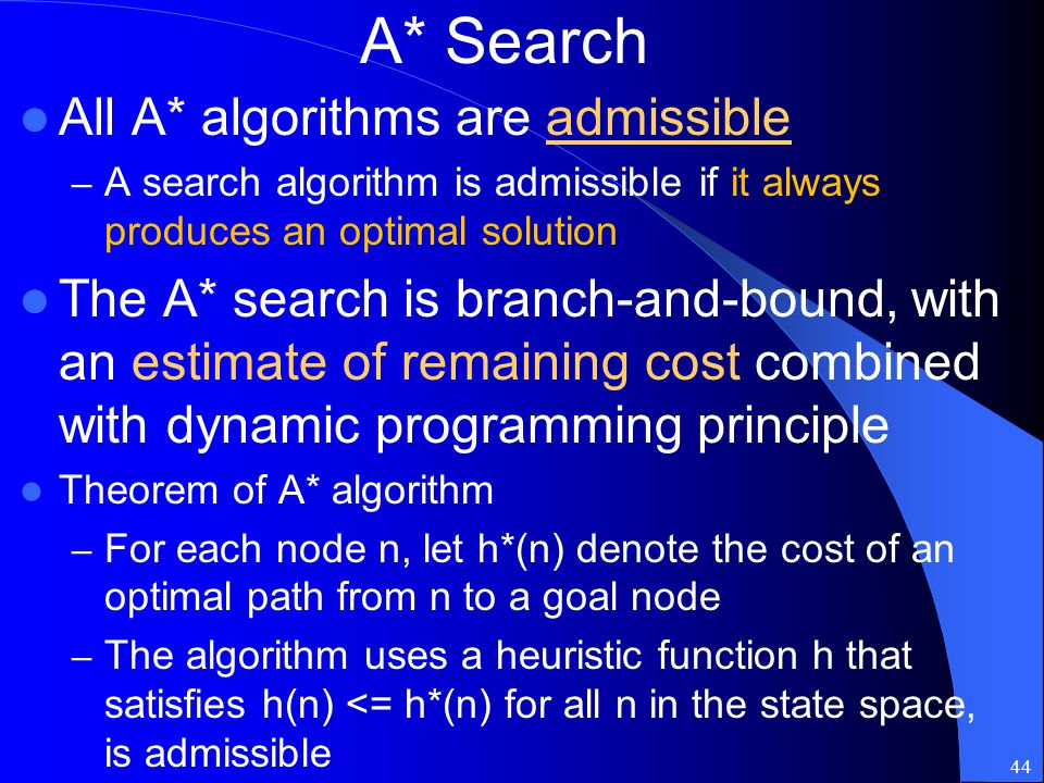 A* Search All A* algorithms are admissible