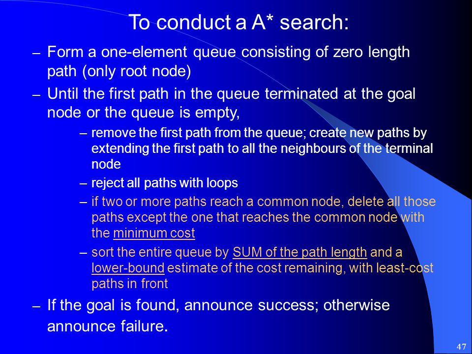 To conduct a A* search: Form a one-element queue consisting of zero length path (only root node)