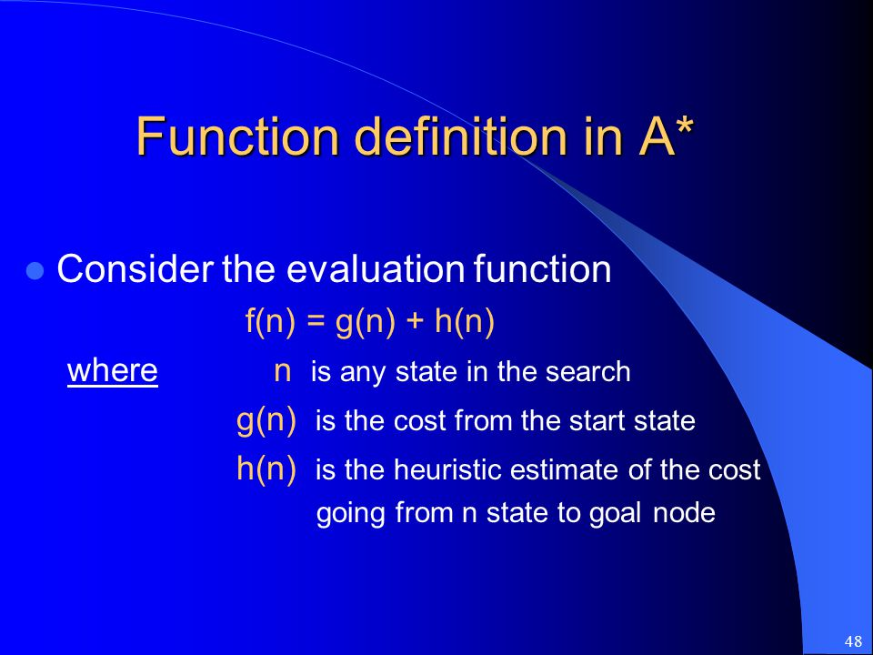 Function definition in A*