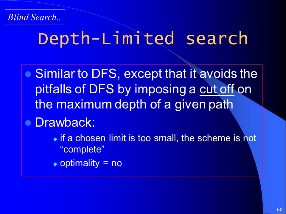 Blind Search.. Depth-Limited search.