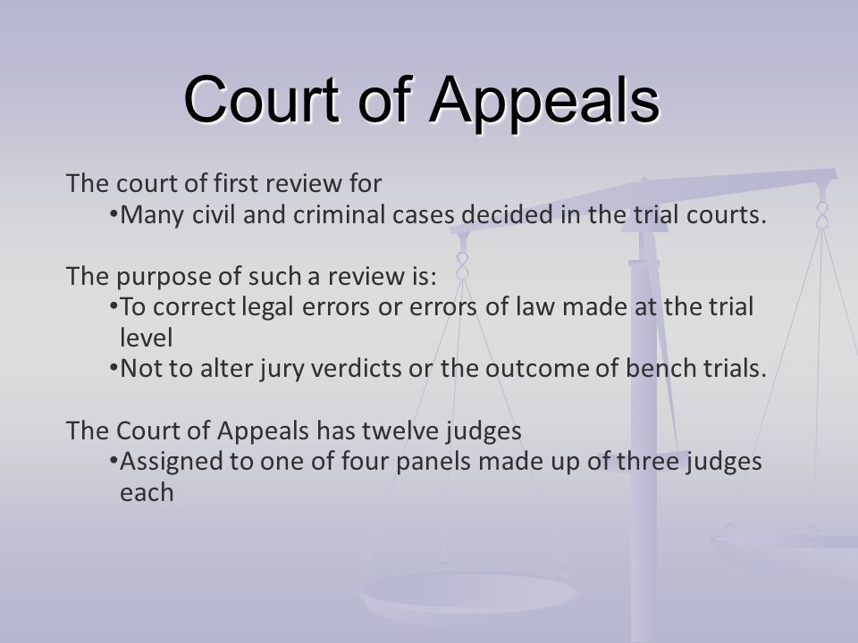 Court of Appeals The court of first review for