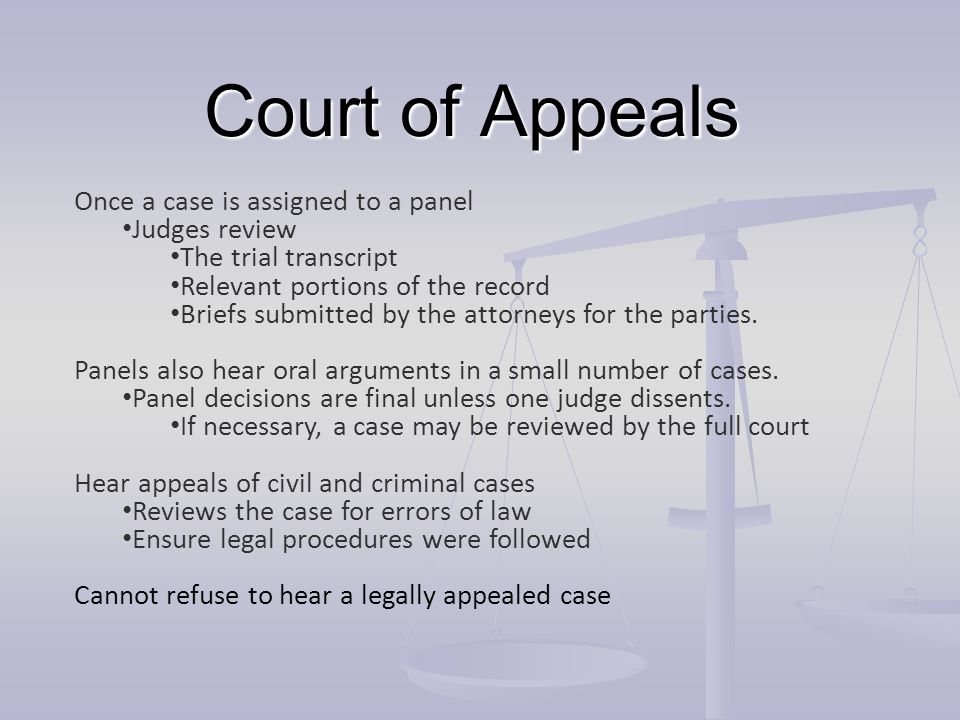 Court of Appeals Once a case is assigned to a panel Judges review