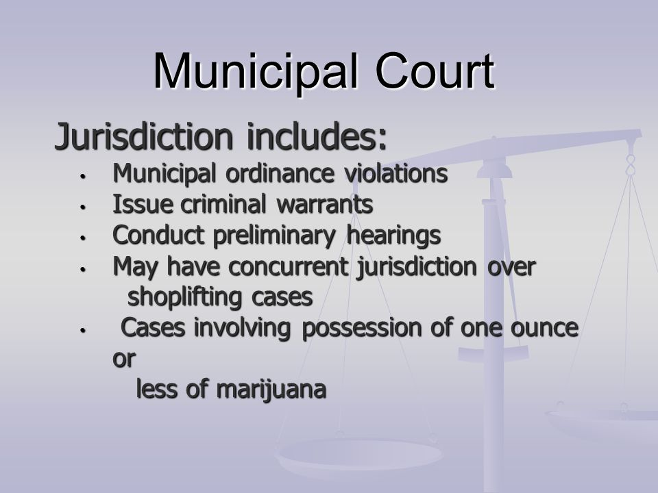 Municipal Court Jurisdiction includes: Municipal ordinance violations