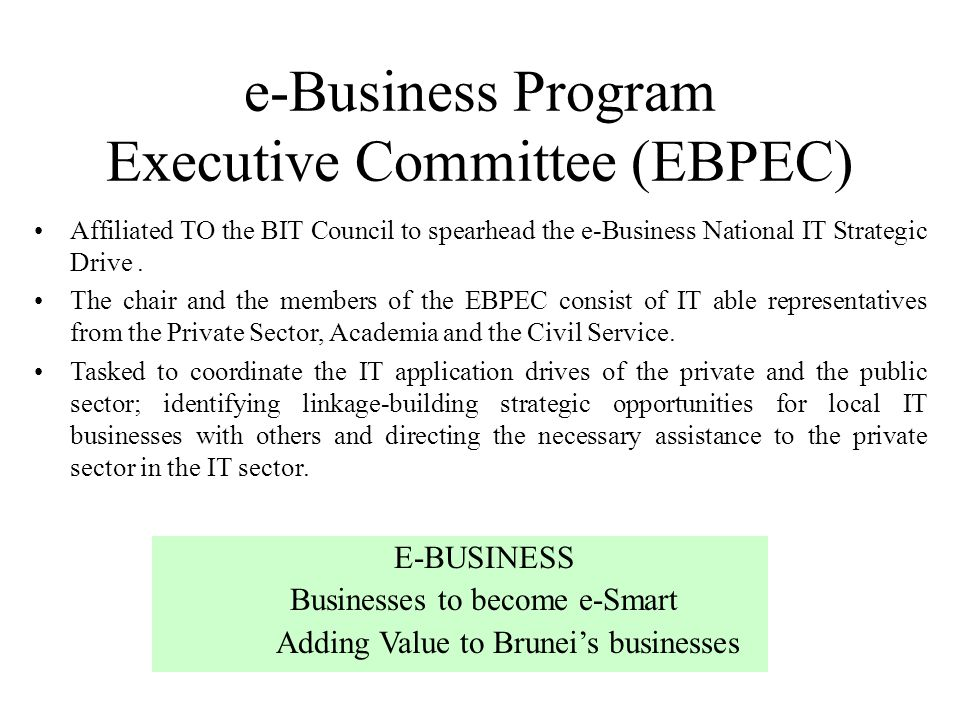 e-Business Program Executive Committee (EBPEC)
