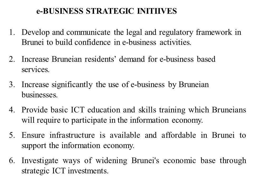 e-BUSINESS STRATEGIC INITIIVES